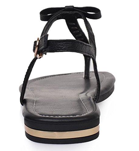Unie Femme Boucle Sandales PU Bas à Divisé AalarDom Couleur TSFLG004654 Cuir Talon Noir qHwzBB