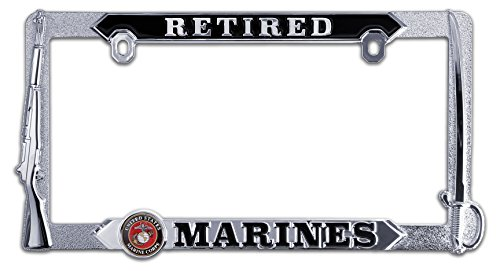(Elektroplate Retired Marines 3D License Plate Frame )