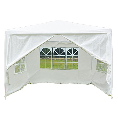 Z ZTDM Wedding Party Tent 10×10 Outdoor White Canopy Screen Sun Shelters Houses Gazebos Heavy Duty with 3 Removable Sides Sidewalls & 1 Door for BBQ Carport