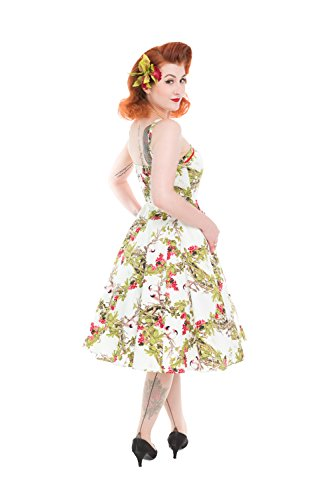 Roses up Kleid amp; Forest 50er Jahre Träger Hearts Weiß Rockabilly Pin Petticoat Swing qXR4UwP5n