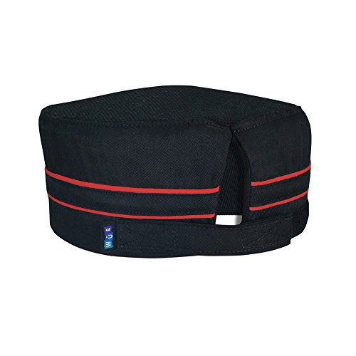 10oz apparel Mesh Top Chef Skull Hat with Red Piping -