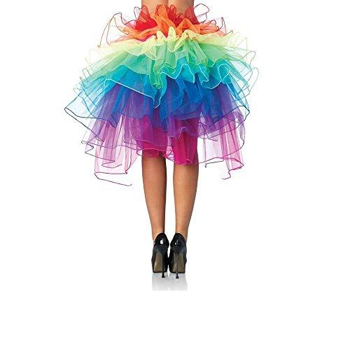 (Chris.W Women Layered Rainbow Tutu Skirt Dancing Ruffle Skirt Mini Bubble Skirt Petticoat - One Size Fits Most)