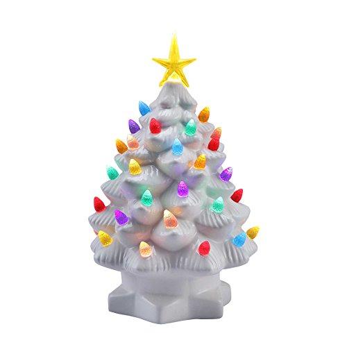 Retro Ceramic - Mr. Christmas 10 Inch Nostalgic Porcelain LED Christmas Tree – Lighted Retro Vintage Table Top Holiday Decoration, White New