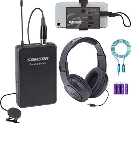 Samson Go Mic Mobile Lavalier Wireless System Bundle with SR350 Closed-Back Stereo Headphones, Blucoil 3.5mm Audio Extension Cable (6-Feet) and 4-Pack of AA Batteries (Stereo Samson Mic)