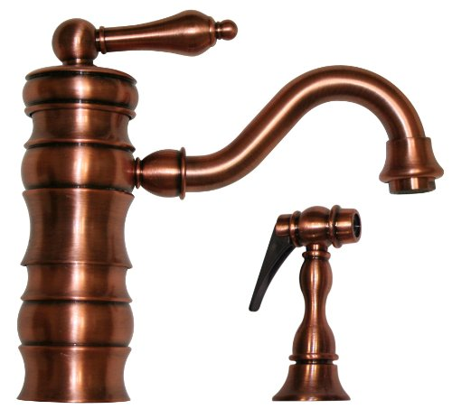 Whitehaus WHVEG3-1098-ACO Whveg3-1098-Acovintage Iii single Lever Entertainment/Prep Faucet with Traditional Swivel Spout & Solid Brass Side Spray, Antique Copper - Traditional Swivel Spout
