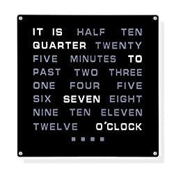 LED Word Clock - Displays Time As Text 12 x 12/Powered by AC Adapter (Included)