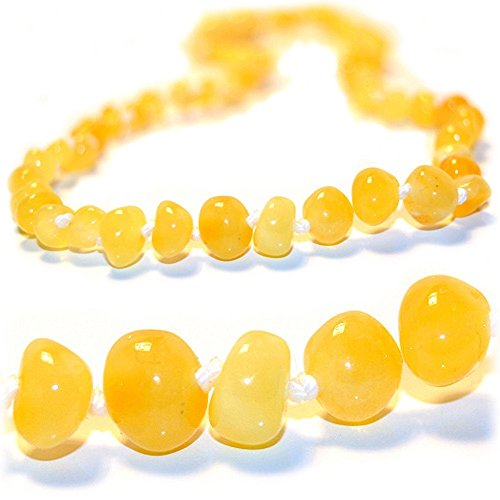 The Art of Cure Original Baltic Amber Necklace- Polished Handmade (Yellow) for boy or girl - 12-12.5 Inches size