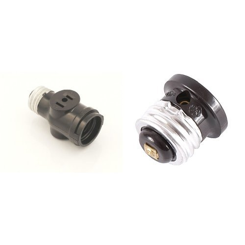 Leviton 1403 Two Outlet Socket Adapter, Black with GE 54276 Polarized Handy Outlet ()