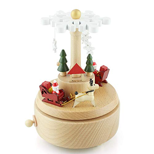 Takefuns Christmas Decorations Christmas Ornaments for Children Wooden Music Box,Musical Box Smart Castle Toy Decoration Birthday Present for Lover Friends and Children