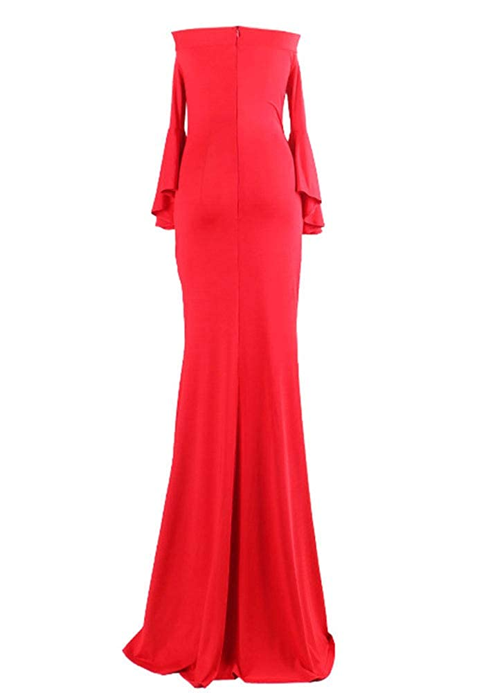 Indistyle Womens Elegant Off Shoulder High Split Bodycon Pencil Maxi Dress Long Sleeves