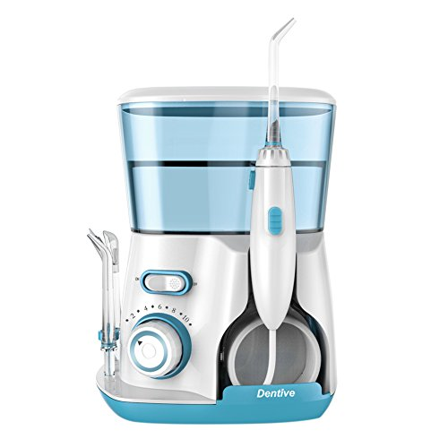 Dentive Professional Aquarius Water Flosser for Teeth, Braces and Bridges –120s Water Capacity, 10 Levels Adjustable, 7 Flossing Tips Set & IPX7 Waterproof