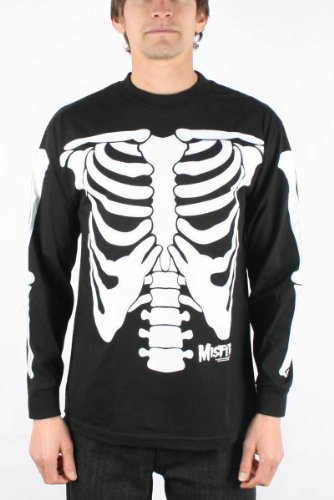 The Misfits Glow Dark Skeleton Adult Long Sleeve T Shirt