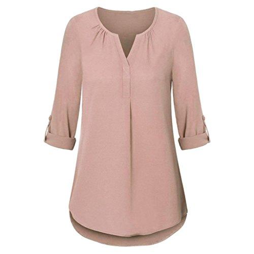 ABCone Donna Pullover Felpa Scollo a V Pulsante T-Shirt Maniche Lunghe Elegante Autunno Camicette Camicie Casual Tops Rosso