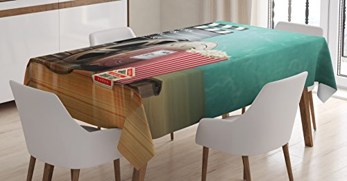 Ambesonne Movie Theater Tablecloth, Production Theme 3D Film Reels Clapperboard Tickets Popcorn and Megaphone, Dining Room Kitchen Rectangular Table Cover, 52 W X 70 L inches, Multicolor by Ambesonne