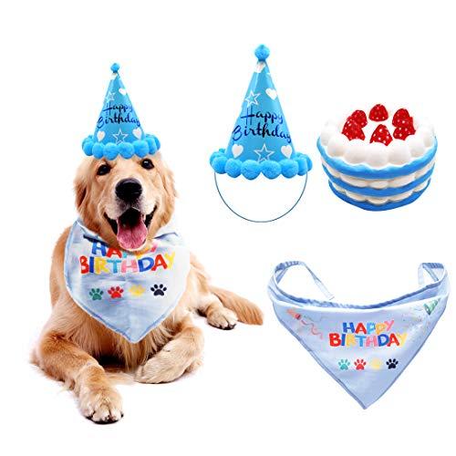 SSRIVER Dog Birthday Bandana Dog Birthday Hat Birthday Cake Squeaky Dog Toy Triangle Scarf Dog Birthday Set with Cute Doggie Birthday Party Hat Great Puppy Birthday Outfit and Decoration Kit (Blue)