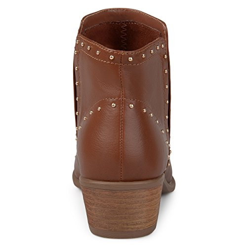Journee Ankle Heel Journee Collection Brown Studded Womens Stacked Boots Collection 5fwxZx0q4C