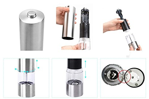 2 Pack Salt and Pepper Grinder with Adjustable Ceramic Rotor Pepper Mill Made of Brushed Stainless Steel Suit Spice Mill Salt and Pepper Shakers 6oz Tall Body by WANGBO (Image #5)