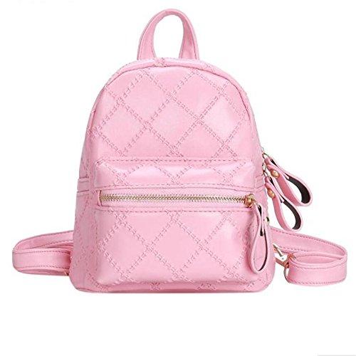 Dos À Cuir Carreaux À Dos À Mini Pink Sac En School Rose Teenage Géométrique Femmes Bagpack Girls Féminin Meaeo Sacs Y1q4wgaS