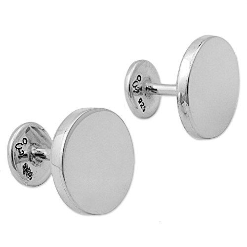 NOVICA Round .925 Sterling Silver Cufflinks, Splendid Moons'