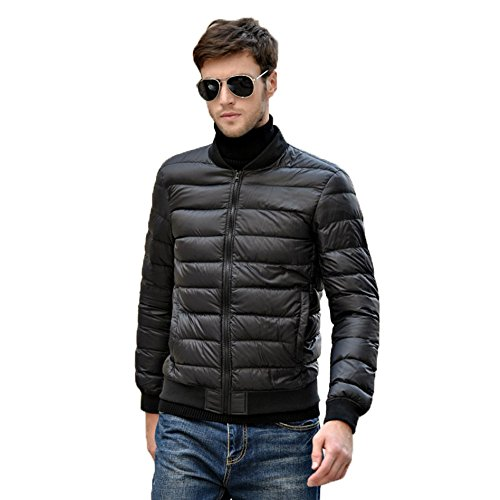 Jacket Lightweight Black Collar Down Baseball Light Men's Stand Hoffen Ultra Coat Puffer aO0xRS1