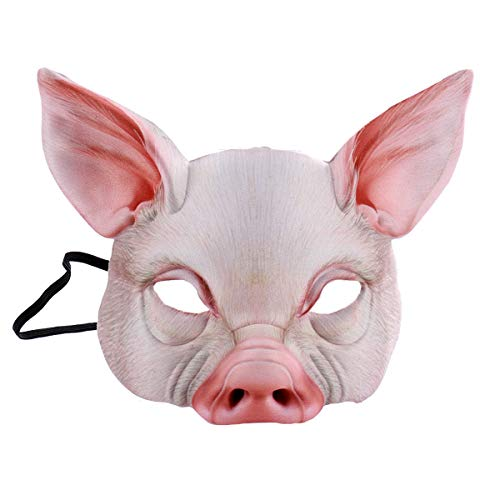 NUOBESTY Half Face Animal Mask Fun Pig Mask for Party Festival Halloween Masquerade Fancy Ball Cosplay (Pink) ()