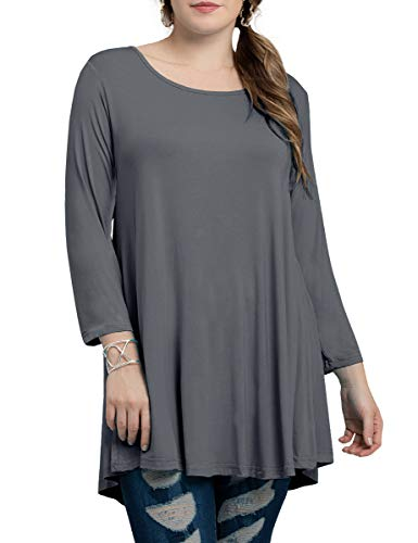 BELAROI Women Plus Size 3/4 Sleeve Comfy Tunic Tops Loose T-Shirt(M,Deep Gray) ()
