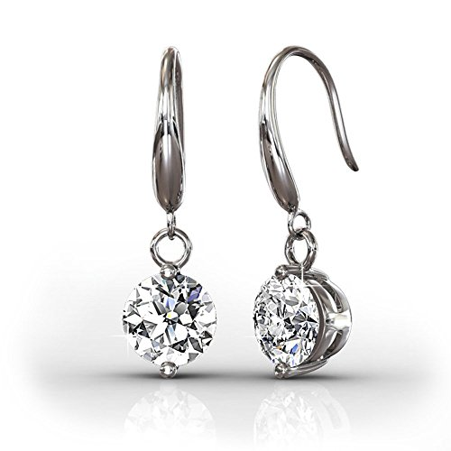 Diamond Gold Swarovski (Cate & Chloe Veronica 18k White Gold Dangling Earrings w/ Swarovski Crystals, Sparkling Round Cut Solitaire Diamond Silver Drop Earring Set Wedding Anniversary Jewelry - Hypoallergenic - MSRP $139)