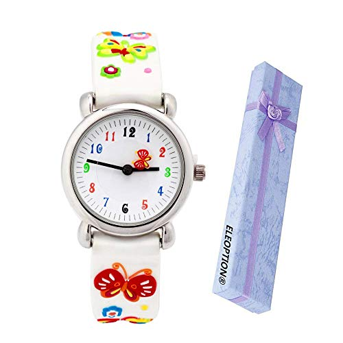 Eleoption Waterproof Kids Watch for Girls Boys Time Machine Analog Watch Toddlers Watch 3D Cute Cartoon Silicone Wristwatch Time Teacher for Little Kids Boys Girls Birthday Gift (Butterfly-White)