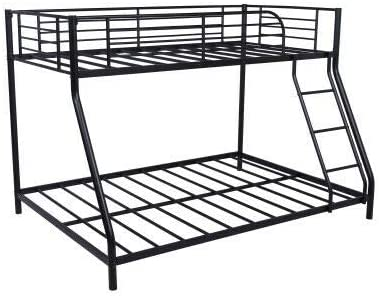 Black Metal Twin Over Full Bunk Beds Ladder Kids Teens Adult Dorm Home Condo Apartment Bedroom Furniture Gift