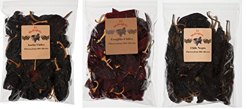 Mexican Chiles 3 varieties Ancho, Guajillo and Pasilla Negro. El Molcajete Brand 5 oz each – 3 Resealable Bags Mexican Recipes, Chiles Tamales, Salsa, Chili, Meats, Soups, Stews & BBQ - Pasilla Chile