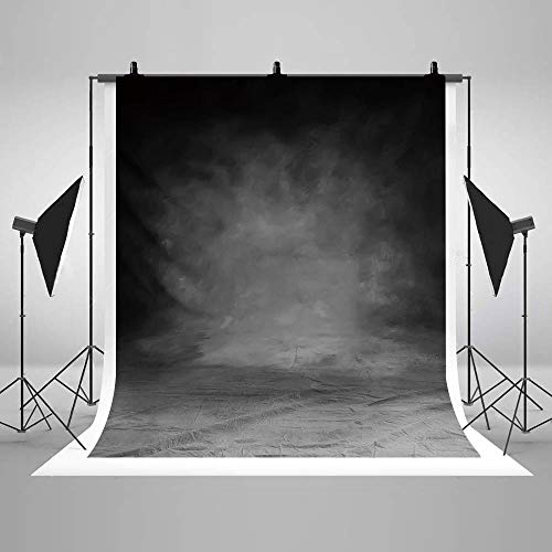 COMOPHOTO Smoky Grey Abstract Portrait Backdrop for Photography Old Master Retro Backdrops Photo Background for Professional Photography 5x7ft Seamless Polyester