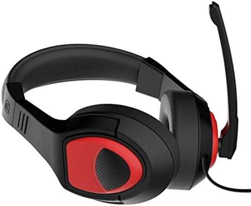 RENKUNDE スイッチオーディオアダプタゲーミングヘッドセットとヘッドセットゲーミングヘッドセット調節可能なヘッドバンド黒赤 ゲーミングヘッドセット