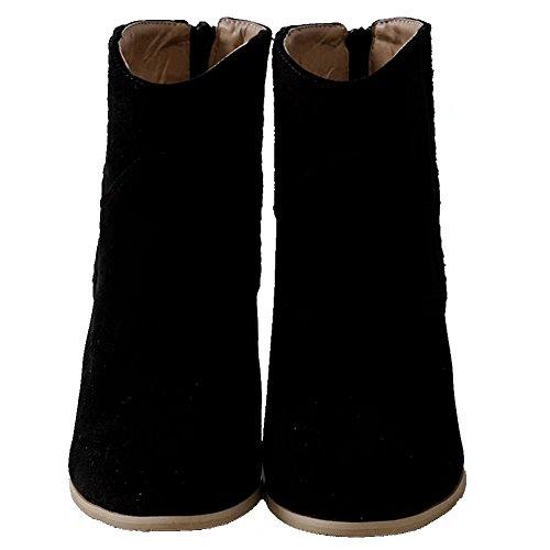 KingRover Women's Block Heel Closed Toe Zipper Casual Dress Ankle Boots Black