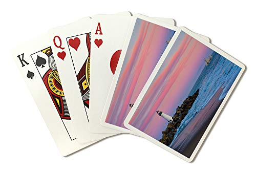 - Santa Cruz, California -Walton Lighthouse Sunset- Photography A-92980 (Playing Card Deck - 52 Card Poker Size with Jokers)