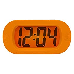 LED Alarm Clock Silicone Protective Cover Silent LCD Large Screen Desk Bedside Electronic Digital Alarm Clock with Snooze Light Function Batteries Powered , orange
