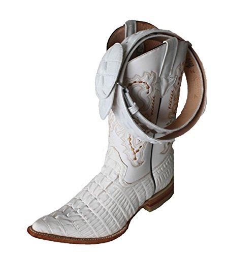 Stivali Da Uomo In Pelle Di Coccodrillo Con Stampa Cowboy Occidentale (in Rilievo) / Cintura Bianca Gratuita