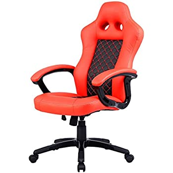 Costway Bucket Seat Office Desk Chair High Back Race Car Style Gaming Chair  Orange