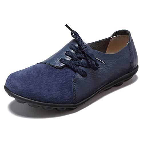 Hsyooes Damen Mokassin Bootsschuhe Leder Loafers Fahren Flache Schuhe Halbschuhe Slippers Erbsenschuhe (Bitte Bestellen Sie eine Nummer grosser)