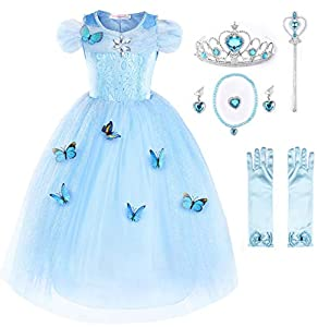 JerrisApparel New Cinderella Dress Princess Costume Butterfly Girl (5 Years, Sky Blue with Accessories)