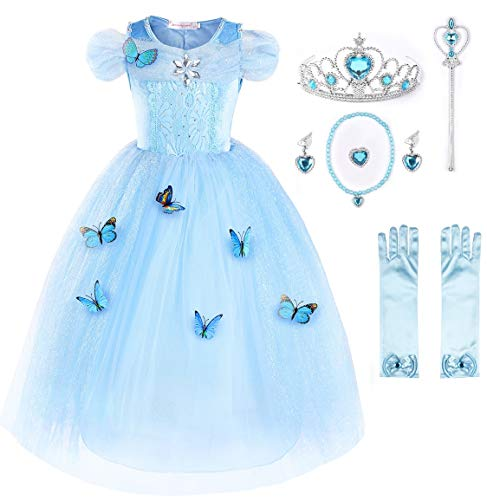 JerrisApparel New Cinderella Dress Princess Costume Butterfly Girl (7 Years, Sky Blue with Accessories)]()