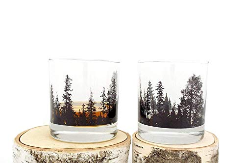 Whiskey Glasses by Black Lantern – Handmade Whiskey Glass Set and Bar Glasses – Forest Landscape (Set of Two 11oz…