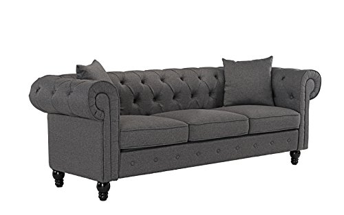 Classic Linen Fabric Scroll Arm Tufted Button Chesterfield Style Sofa (Light Grey) Linen Scroll