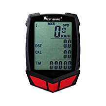 West Biking Bicycle Computer Multi Function LCD Original Wireless & Wired Bicycle Speedometer Bike Odometer Cycling (Blue Red Green)
