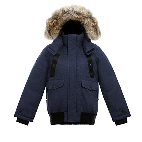Triple F.A.T. Goose SAGA Collection | Norden Boys Hooded Goose Down Jacket Parka with Real Coyote Fur (16/18, Navy)