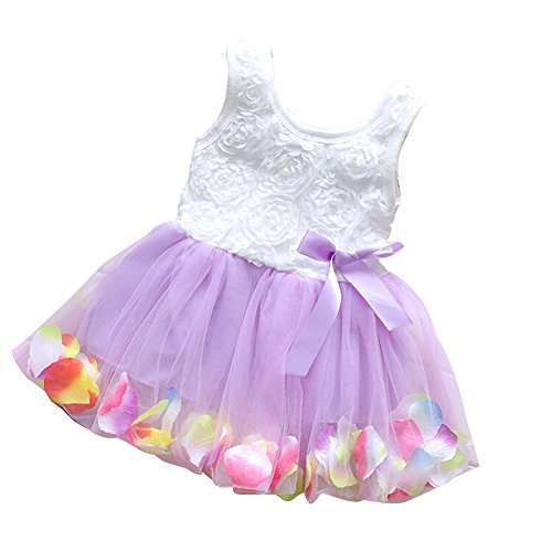 Baby Girl Round Neck Colorful Petals Hem Yarn Mesh Dress Princess Dress(Violet 12#)