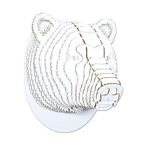 (Cardboard Safari Recycled Cardboard Animal Taxidermy Bear Trophy Head, Stewart (Micro, White))