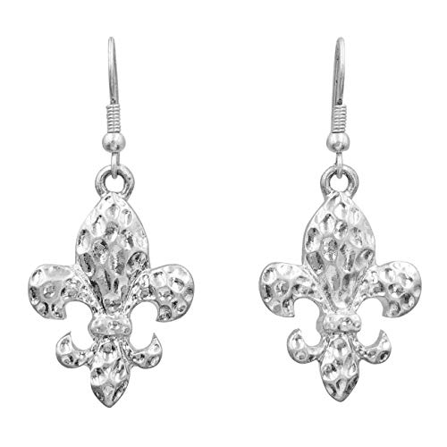 Fleur De Lis Classic Simple Drop Dangle Earrings - Assorted Styles (Hammered Silver Tone)