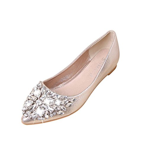 Alixyz Women's Casual Fashion Pointed Rhinestone Toe Shoes Low Heel Flat Shoes (5 B(M) US, Gold) (Beaded Cereal)