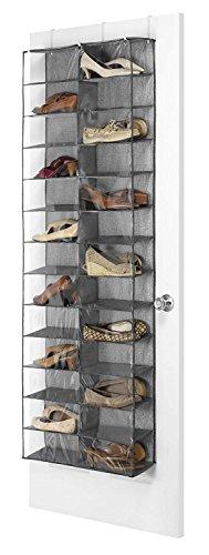 Beeiee Hanging Shoe Shelves Closet Organizer 26 Pockets Over The Door Shoe Organizer, Crystal Clear PVC Shoe Rack Door Shelf Hanger Holder Storage Bag (Black, 63