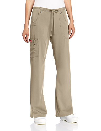 Dickies Women's Xtreme Stretch Fit Drawstring Flare Leg Pant, Dark Khaki, XX-Large Petite (Drawstring Petite)